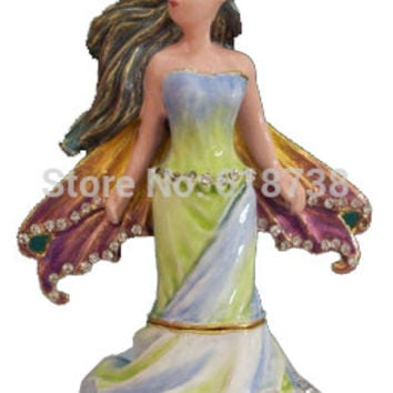 free shipping Lady statue angel figurine jewelry trinket box metal craft unique vintage souvenirs Home Accessories X'mas Gifts