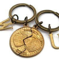 Religious Couple Keyrings, Mizpah Coin Blessing Keychains, The Lord Watch Between Me And Thee, Christian Jewelry, His & Hers Key Rings Gift