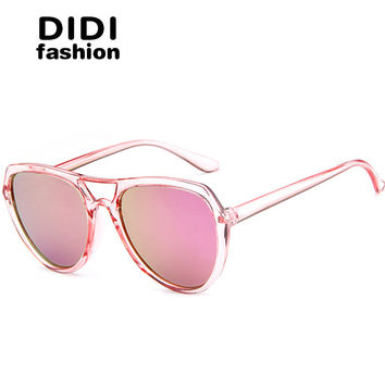 DIDI 2017 Transparent Frame Reflective Sunglasses Women Men Aviator Double Bridge Sun Glasses Rainbow Pink Lens Korea Culos W672