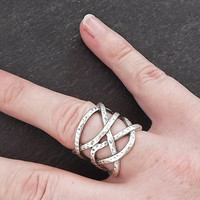 Gamze Weave Adjustable Silver Ethnic Tribal Boho Geometric Statement Ring - Authentic Turkish Style