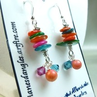 Orange Green Blue Pink Mother of Pearl Rondelle Crystal Earrings