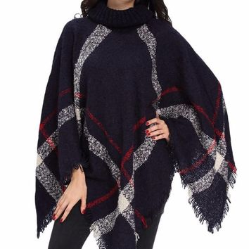 Women's Navy/Red Oversized Turtle Neck Knit Plaid Poncho Jacket
