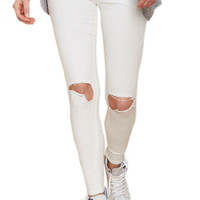 White Ripped Slim Jeans