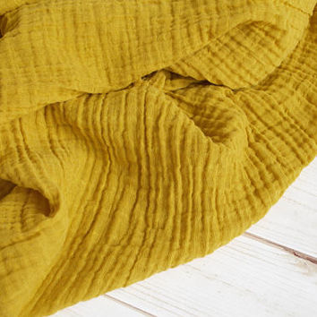 "Muslin Swaddle Blanket in Mustard - made from 100% cotton double gauze - generously sized 45"" square - baby blanket, baby gift"