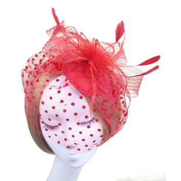 Tinksky Bird Cage Mesh Bridal Face Veil Feather Hair Clip Dress-up Accessories(Red)