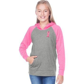 Buy Cool Shirts Girls Breast Cancer Hoodie Embroidered Pink Ribbon Pocket Print
