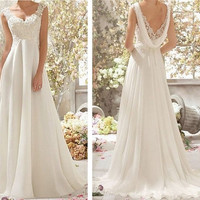White /Ivory Chiffon Wedding Dress Lace Cap Sleeve Wedding Dress Bridal Gowns Floor Length Chiffon Beach Wedding Dresses Prom Dress