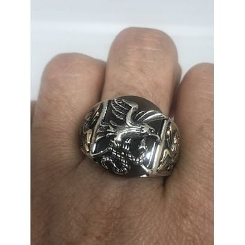 Vintage Brown Onyx Eagle with Snake 925 Sterling Silver Ring