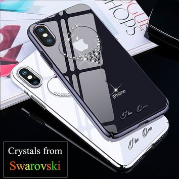 iPhone X / 10 Case Crystals From Swarovski PC Hard Crystal Diamond Rhinestone Case for iPhone X Cover Coque Funda