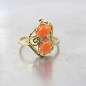 14K Angel Skin Coral Ring, Yellow Gold Two Stone Salmon Coral Cabochons Swirl Design, Unique Engagement Ring  Size 6