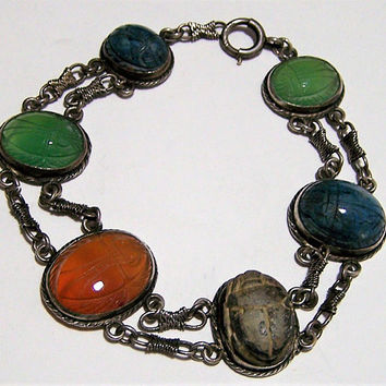 Sterling Silver Stone Scarab Bracelet, Side Ways Set Carved Stones, Egyptian Revival, Art Deco Era, Carnelian, Chrysoprase, Chalcedony 817