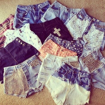 High Waisted Denim Shorts Vintage - - CHOOSE 2 OPTIONS - - Hipster tumblr high rise cute Shipped in 1-3 days