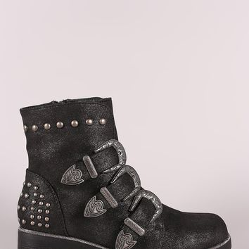 Wild Diva Lounge Studded Etched Buckled Strap Moto Ankle Boots