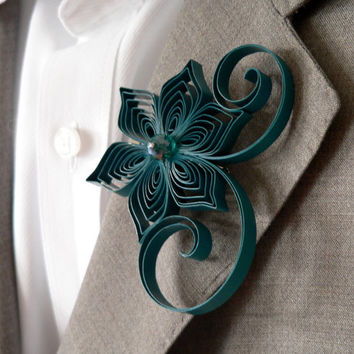 Gem Boutonniere, Gem Buttonhole, Teal Wedding, Mens Wedding Boutonnieres, Gem Wedding