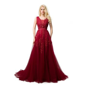 Robe De Soiree Red/Coral/Royal Blue/Pink Lace Appliqued Beaded Sexy Long Evening Dress Elegant Formal Prom Party Dresses