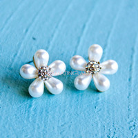 Shimmer Blossom Pearl Daisy Earrings