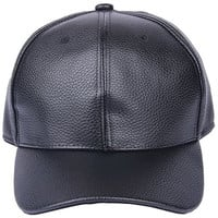 Bigood(TM) PU Leather Solid Adjustable Baseball Golf Cap Outdoor Hat Black