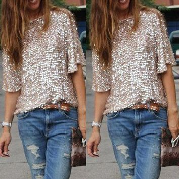 Women Shiny Sequin Top Tank 3/4 Sleeve Blouse Bling Vest T-Shirt Casual Tee Tops
