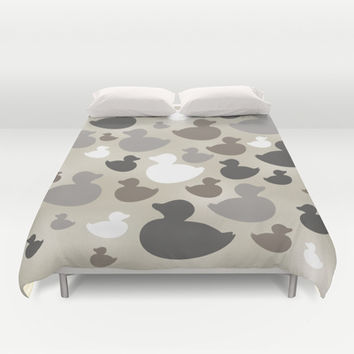 AL AQUA DUCK: Neutral  Duvet Cover by Eileen Paulino