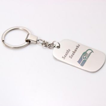 America Football Seattle Seahawks Team Sided Dog Tag Charm Keychain Stainless Steel Key Ring Holder For Fan's Jewelry
