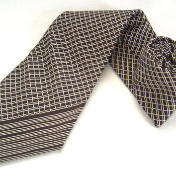 Pierre Cardin pure silk brown tie with white stripes - French tie - Brown and white - French high fashion - Stripped tie - Classic tie
