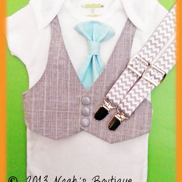 Baby Boy Clothes With Tie - Aqua Tie and Grey Chevron Suspenders - Baby Boy Vest Romper - Boys Birthday Outfit - Trendy Baby Outfits