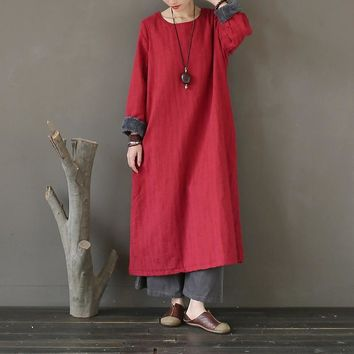 Winter Dress Women Cotton Linen Thick Warm Fleece Long Dress Vintage Chinese style Original design Dress Robe Femme A269