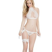 Lace Halter Bra and Panties Set - White - Spencer's