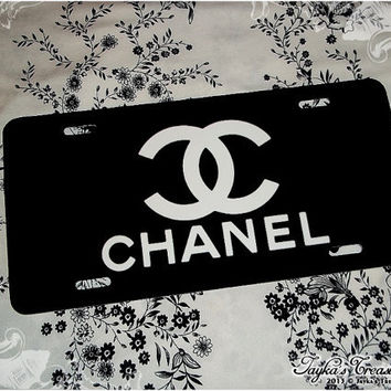 CHANEL Black and White Car License Plate