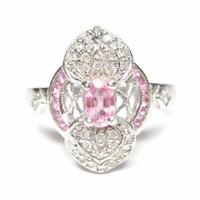 14K White Gold 1.10 Carat Pink Topaz And Diamond Ring Size 8