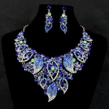 New Fashion hot sales wedding bridal women Indian jewelry leaf drop pendant necklace earrings wedding jewelry sets for brides