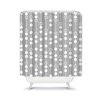 Shower Curtain CUSTOM You Choose Colors Gray Stripe Line Drop Polka Dot Circle Pattern Bathroom Bath Polyester Made in the USA