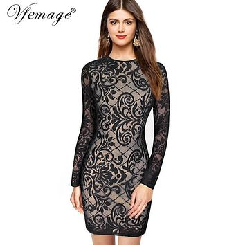 Vfemage Sexy Geometry Lace High Waist Fashion Womens Girl Ladies Cool Chic Casual Party Special Occasion Bodycon Mini Dress 4635