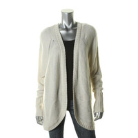 Autumn Cashmere Womens Cashmere Ribbed Trim Cardigan Sweater