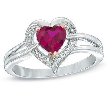 6.0mm Heart-Shaped Lab-Created Ruby and Diamond Accent Ring in Sterling Silver - View All Rings - Zales