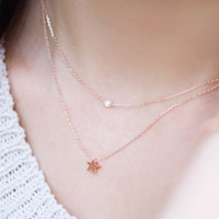 Elegant  Women's Double Layer Pearl Star Pattern Necklace Choker Necklace
