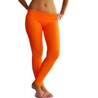 Orange fold over Leggings Yoga Pants clothes Fuzzy Lycra fitness activewear