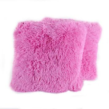 "Very Soft and Comfy Plush Long Faux Fur 18"" x 18"", Pink, 2 Pack"