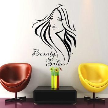 Wall Decals Beauty Salon Girl Vinyl Sticker Decal Barbershop Living Room Home Decor Bathroom Interior Design Art Mural US15