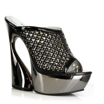 6 Inch Rhinestoned Mule On Curvaceous Wedge Heel (7,Silver)