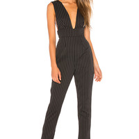 by the way. Gloria Deep V Jumpsuit in Black Pinstripe