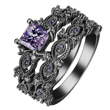 ESBONFI black silver plated Rings sets blue pink white purple color zircon trendy new fashion jewelry gift princess Engagement Rings