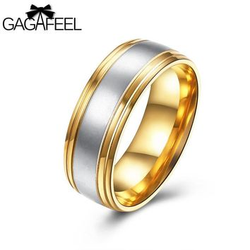 Gagafeel Stainless Steel Luxury Gold Black Ring For Men Jewelry Punk Rock Style Titanium Cocktail Wedding Rings Dropshipping