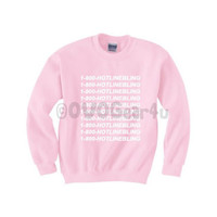 1-800- HOTLINE BLING Sweatshirt OVO Drake Sweatshirt Light Pink Hotline Bling Sweater (Unisex) *Free Gift*