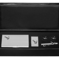 Anchor Business Card Case, Money Clip, Cufflinks and Tie Bar Gift Set