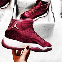 Air Jordan 11 RL GG Velvet New Women Men Running Sports Leisure Shoes Burgundy