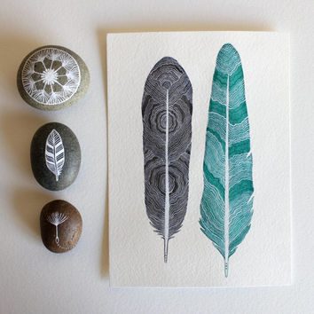Featured in West Elm - Feather Painting - Watercolor Art - Large Archival Print - 11x14 Tree Ring Feathers