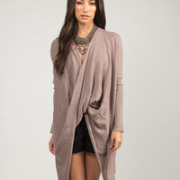 Front Draped Oversized Sweater Top - Taupe - Taupe /