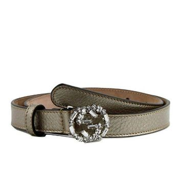 PEAPIX5 Gucci Women's Interlocking Crystal G Leather Skinny Belt 354380