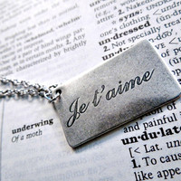 Je t'aime Note Necklace - Silver French Language I Love You